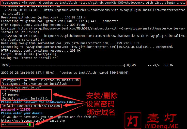 """执行""""ShadowsocksWSTLSCDN""""一键安装脚本搭建Shadowsocks服务器的参数设置"""