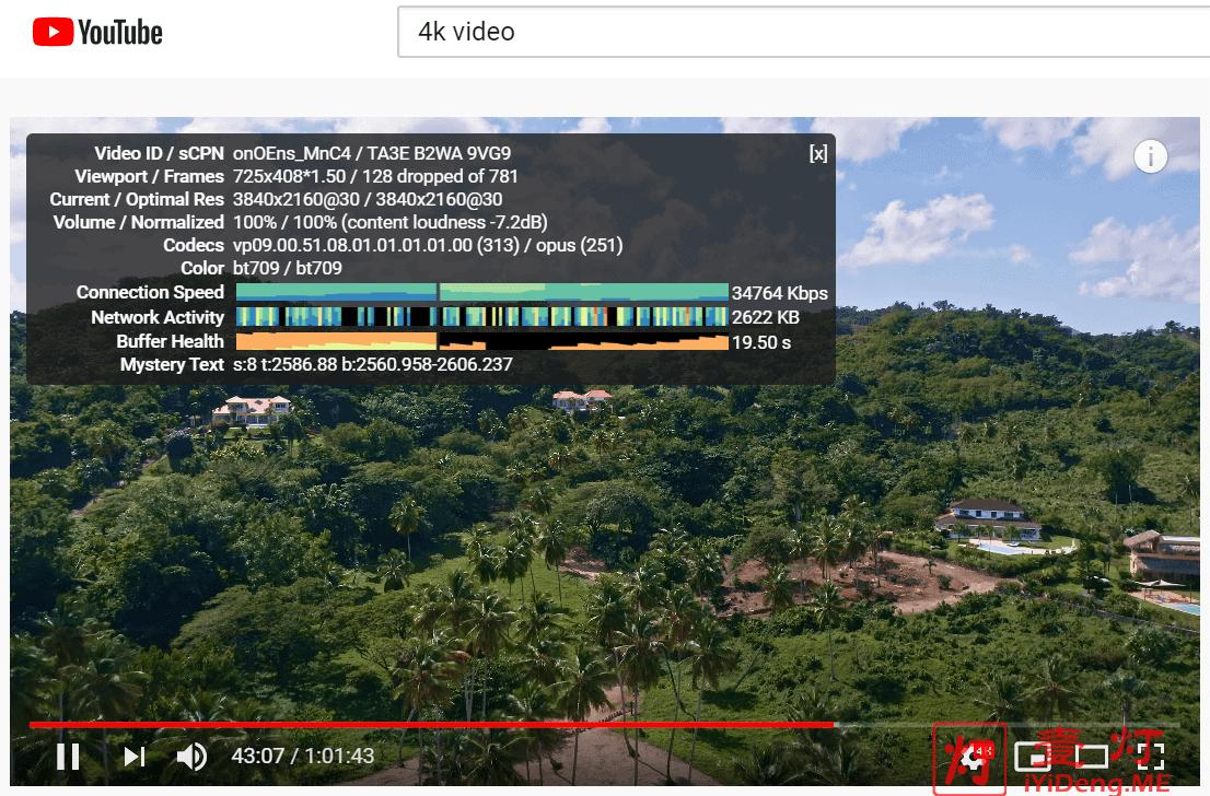 晚高峰看YouTube油管4K视频测速